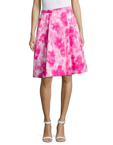 Ellen Tracy Printed Pleat A-Line Skirt-PINK-6