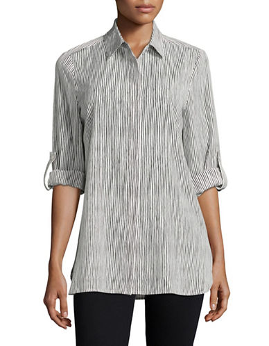 Ellen Tracy Striped Roll-Tab Boyfriend Shirt-WHITE-Large