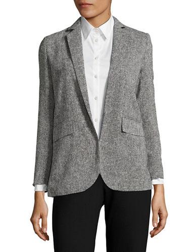 Ellen Tracy Petite Tweed-Look Blazer-GREY-Petite 14