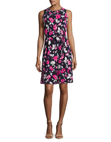 Ellen Tracy Petite Smocked Self-Tie Fit-and-Flare Dress-PINK-Petite Medium