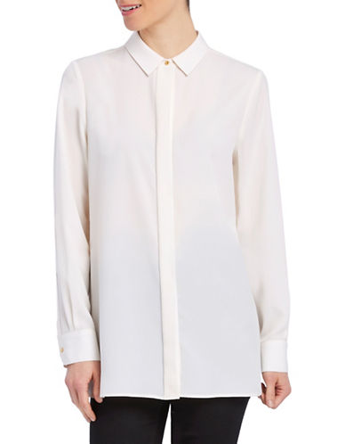 Ellen Tracy Petite Boyfriend Concealed-Fly Shirt-CREAM-Petite X-Small