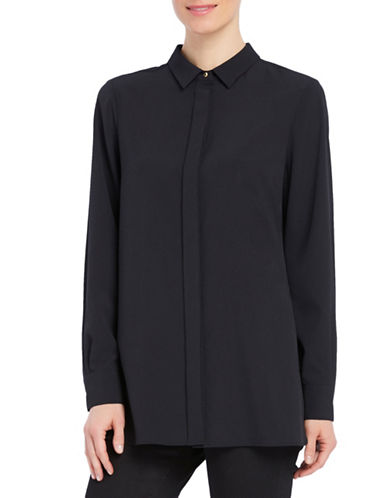 Ellen Tracy Petite Boyfriend Concealed-Fly Shirt-BLACK-Petite Medium