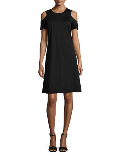 Ellen Tracy Cold-Shoulder Dress-BLACK-Small
