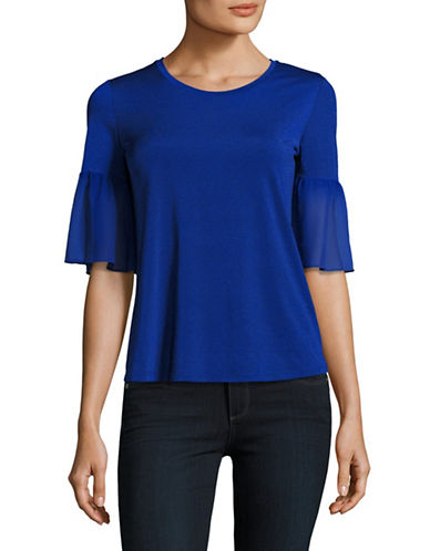 Ellen Tracy Mixed Media Flounce Sleeve Top-AZURE-Medium