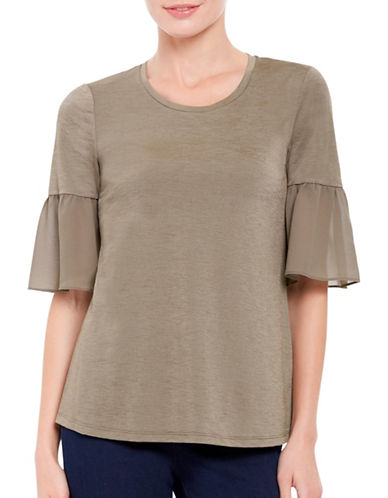 Ellen Tracy Mixed Media Flounce Sleeve Top-SEA GRASS-X-Small