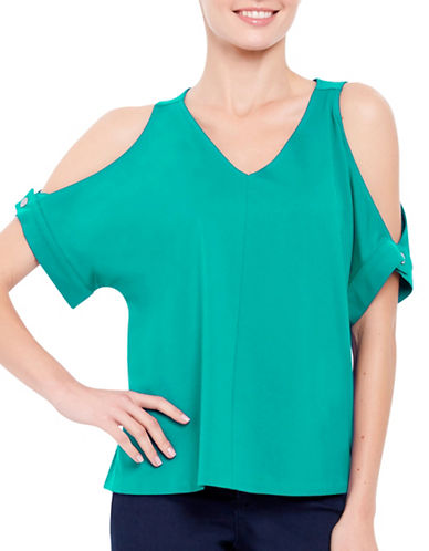 Ellen Tracy V-Neck Cold Shoulder Top-GREEN-X-Small