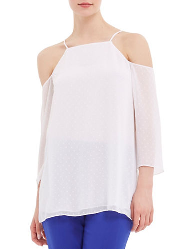 Ellen Tracy Mediterranean Escape Cold-Shoulder Dotted Blouse-WHITE-Large