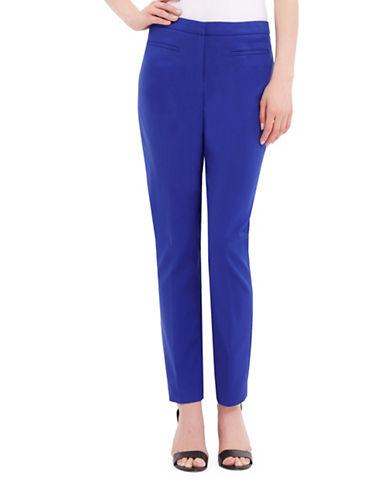 Ellen Tracy Slim-Fit Cotton-Blend Pants-AZURE-16
