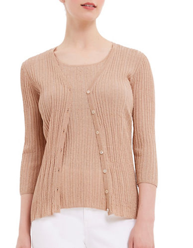 Ellen Tracy Lurex Pleated Cardigan-BEIGE-Medium