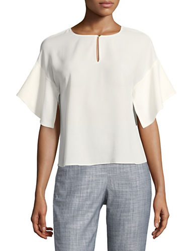 Ellen Tracy Bell Sleeve Boxy Top-CREAM-Large