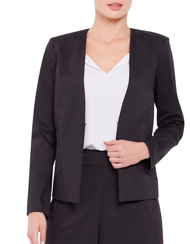 Ellen Tracy Angled Pocket Blazer-BLACK-12