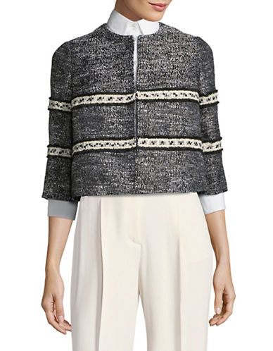 Ellen Tracy Petite Fringe Trim Cropped Jacket-BLACK MULTI-Petite 14