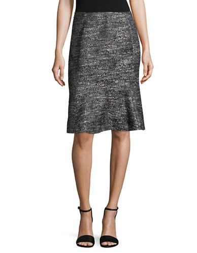Ellen Tracy Boucle Flounce Skirt-BLACK MULTI-10