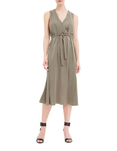 Ellen Tracy Front Tie Sleeveless Wrap Dress-GREEN-10