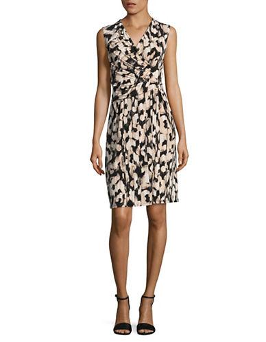 Ellen Tracy Twist Front Dress-BEIGE-Small