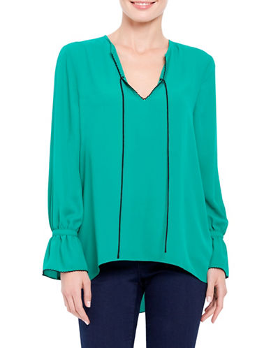 Ellen Tracy Front Tie Peasant Bell Sleeve Blouse-GREEN-Small