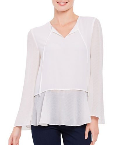 Ellen Tracy Flounce Sleeve Layered Blouse-CREAM-X-Small