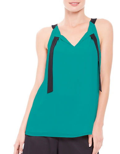 Ellen Tracy Neck Tie Halter Top-GREEN-Large