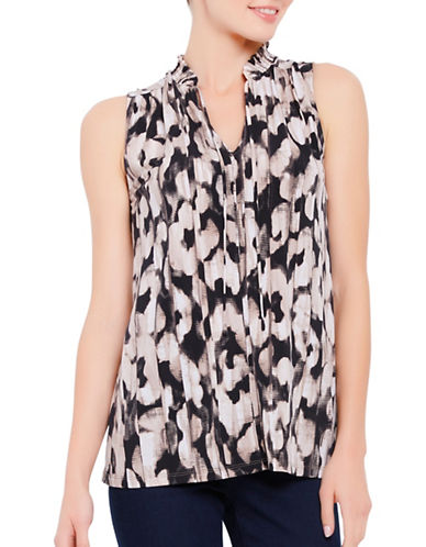 Ellen Tracy Smocked High-Neck Sleeveless Top-BEIGE MULTI-X-Small