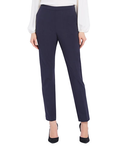 Ellen Tracy Petite Side-Zip Tapered Pants-NAVY-Petite 10