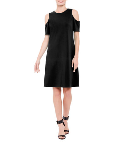 Ellen Tracy Petite Mediterranean Escape Cold-Shoulder Dress-BLACK-Petite Medium