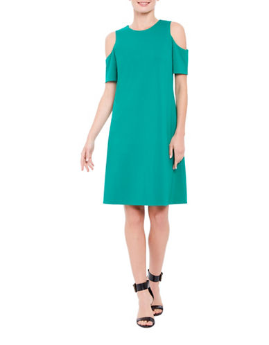 Ellen Tracy Petite Mediterranean Escape Cold-Shoulder Dress-GREEN-Petite Small