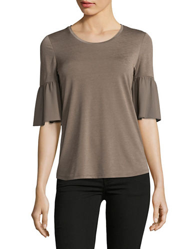 Ellen Tracy Petite Knit-Woven Ruffle-Sleeve Top-KHAKI-Petite X-Large