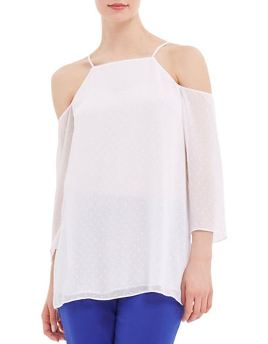 Ellen Tracy Petite Mediterranean Escape Cold-Shoulder Dotted Pullover Blouse-WHITE-Petite X-Large