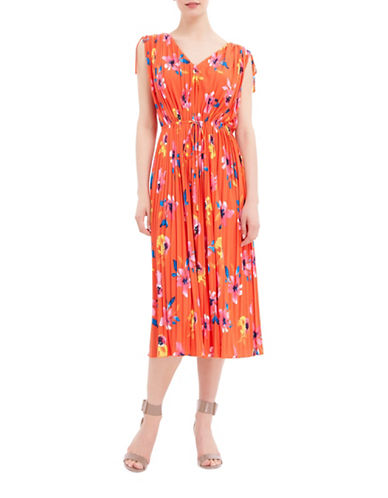 Ellen Tracy Petite Tie Waist Pleated Dress-RED MULTI-Petite Medium