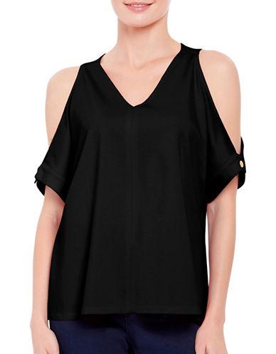 Ellen Tracy Petite V-Neck Cold Shoulder Top-BLACK-Petite Medium