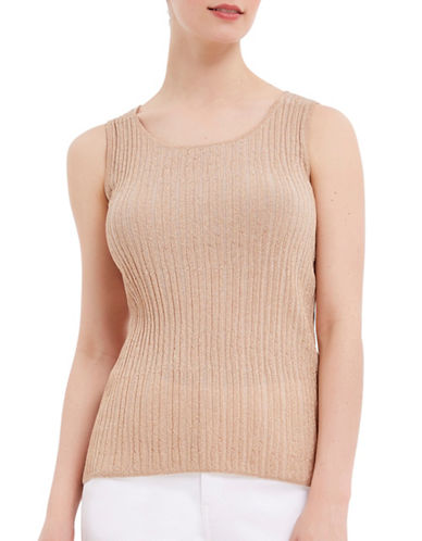 Ellen Tracy Petite Petite Lurex Pleated Tank Top-BEIGE-Petite Large