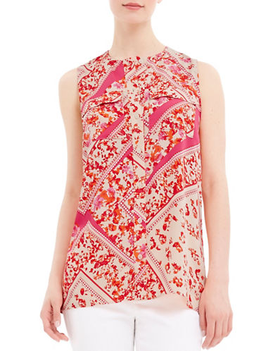 Ellen Tracy Petite Petite Floral-Print Sleeveless Shirt-PINK-Petite X-Small