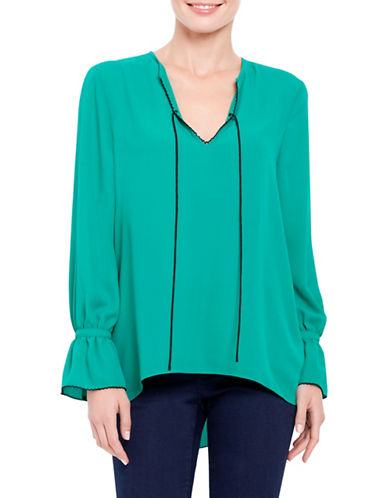 Ellen Tracy Petite Front Tie Peasant Bell Sleeve Blouse-GREEN-Petite Large