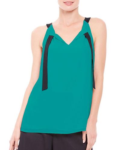 Ellen Tracy Petite Neck Tie Halter Top-GREEN-Petite Medium