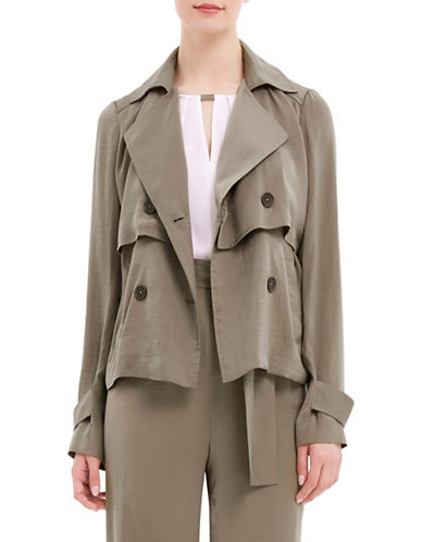 Ellen Tracy Petite Cropped Trench Coat-GREEN-Petite 14