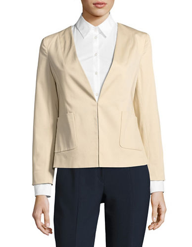 Ellen Tracy Angled Pocket Blazer-BROWN-8