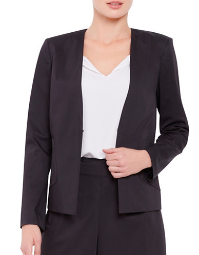 Ellen Tracy Petite Collarless Angle Pocket Blazer-BLACK-Petite 12
