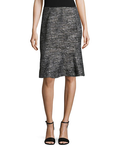 Ellen Tracy Petite Boucle Flounce Skirt-BLACK MULTI-Petite 14