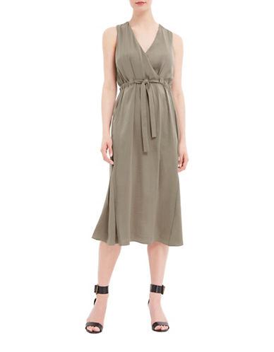 Ellen Tracy Petite Flounce Hem Skirt-BROWN-Petite 8