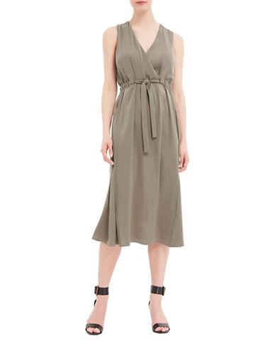 Ellen Tracy Petite Front Tie Wrap Dress-GREEN-Petite 10