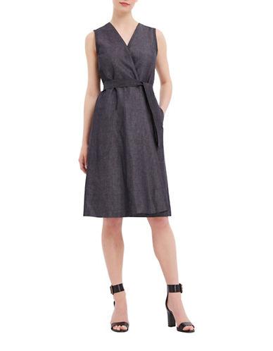 Ellen Tracy Petite Mediterranean Escape Belted Wrap Dress-INDIGO-Petite 12