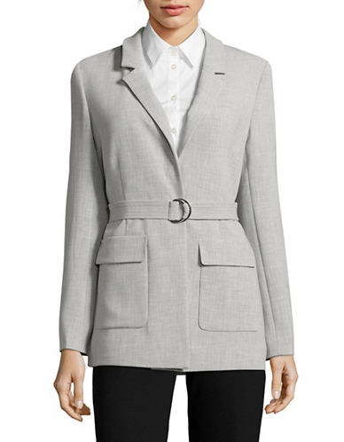 Ellen Tracy Notched Collar Long-Line Blazer-SLATE HEATHER-12