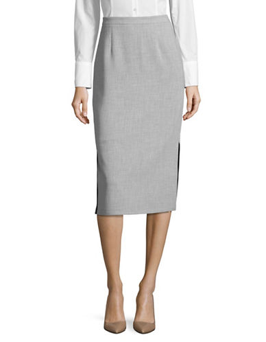 Ellen Tracy Side Split Pencil Skirt-SLATE HEATHER-12