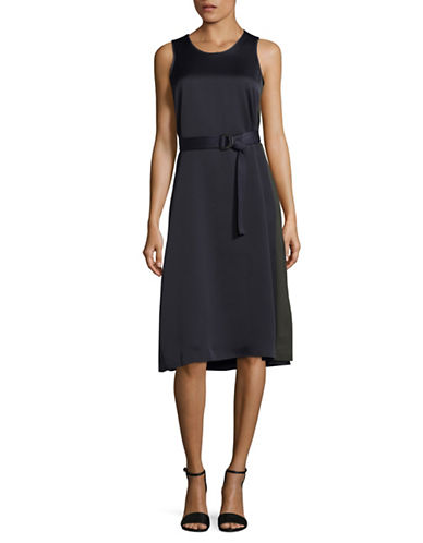 Ellen Tracy Belted Sleeveless Flare Dress-NIGHT SKY-14