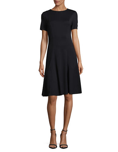 Ellen Tracy Seamed Knit A-Line Dress-NIGHT SKY-X-Small