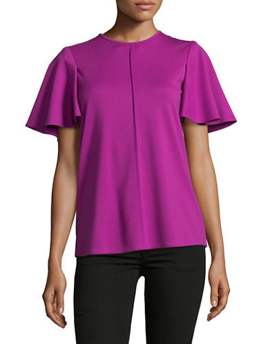 Ellen Tracy Flounce Sleeve Tee-PINK-Medium