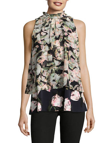 Ellen Tracy Floral-Printed Sleeveless Blouse-MIRAGE-Medium