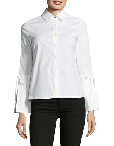 Ellen Tracy Bell-Sleeve Button Front Top-WHITE-X-Small