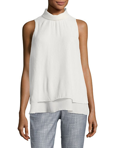 Ellen Tracy Double Layer High Neck Top-WHITE-Large