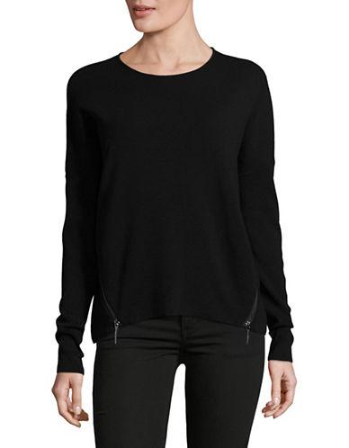 Ellen Tracy Zip Seams Sweater-BLACK-Large